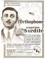 """PUB   OREILLE ARTIFICIELLE Pour Les SOURDS   """" L'ORTHOPHONE """"   1913 ( 3 ) - Technical"""