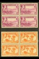 1938-48  1½d Purple And 2d Orange Both Perf 13, SG 103/04, Fine Never Hinged Mint BLOCKS Of 4, Fresh. (2 Blocks = 8 Stam - Montserrat