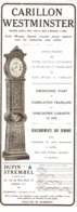 "PUB CARILLON   "" WESTMINSTER ""   1913 - Joyas & Relojería"