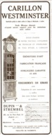 "PUB CARILLON   "" WESTMINSTER ""   1913 ( 1 ) - Joyas & Relojería"