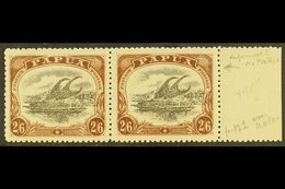 """1910-11  2s6d Black & Brown Lakatoi Type C, SG 83, Fine Mint Marginal Pair, One Stamp With DEFORMED """"E"""" AT LEFT Variety  - Papua New Guinea"""