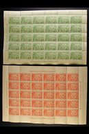 """1925-27  """"Native Village"""" 1d Green And 1½d Orange-vermilion (SG 126 & 126a), Never Hinged Mint Complete Sheets Of Thirty - Papua New Guinea"""