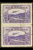 1935  £2 Bright Violet, Bulolo Goldfields, Airmail, SG 204, Superb Used Vertical Pair. Scarce Multiple. For More Images, - Papua New Guinea