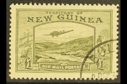 1939  £1 Olive Green Bulolo Goldfields, Airmail, SG 225, Superb Used. For More Images, Please Visit Http://www.sandafayr - Papua New Guinea