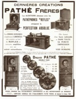 """PUB DERNIERES CREATIONS  """" PATHE Fréres """" PATHEPHONES  1913 - Technical"""