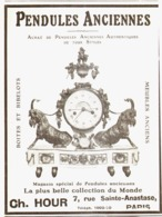 "PUB PENDULES ANCIENNES   "" CH. HOUR  ""   1913  ( 8 ) - Clocks"