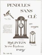 """PUB PENDULES SANS CLé    """" H. J  LINTON  """"   1913  ( 1 ) - Clocks"""