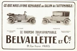 """PUB VEHICULES  """" BELVALETTE Et Cie  """"   1913 ( 3 ) - Transportation"""