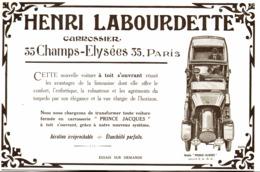 """PUB VEHICULES """" HENRI LABOURDETTE """" 1913 ( 3 ) - Cars"""