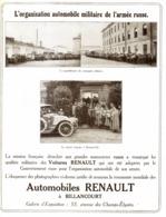 """PUB VEHICULES """" RENAULT """" LES VEHICULES De L'ARMEE RUSSE   1913 - Cars"""