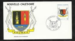 N.C.   Lettre Premier Jour Koumac Le 22/02/1989 N°573 Blason De Koumac Et Cerfs     TB   ! ! ! - Enveloppes
