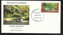 N.C.   Lettre Premier Jour Nouméa Le 23/08/1989 N°580 Paysage De N.C. Bac De Ouaième      TB   ! ! ! - Briefe U. Dokumente