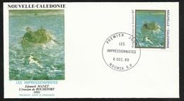 """N.C.   Lettre Premier Jour Nouméa Le 06/12/1989 N°585   Edouard Manet   """"L'évasion De Rochefort """"   TB - Impressionisme"""