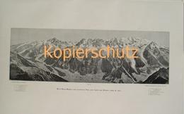 169 Mont Blanc Panorama Chamonix Riesendruck 1902!! - Historische Dokumente