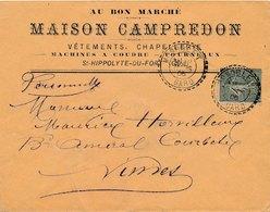 Lettre Maison Campredon, 15C Semeuse Perlé MONOBLET Gard - Poststempel (Briefe)