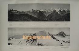 183 Berner Alpen Panorama 2 Teile Riesendruck 1904!! - Historische Dokumente