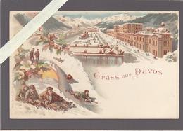 Suisse - Davos - Tres Belle Chromolithographie Kunzli - Luge - GR Grisons