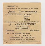 FOLDER GROTE TENTOONSTELLING RADIO EN TELEVISIE SIEMENS HORNET S.B.R. MASTER OOSTDUINKERKE DIKSMUIDE 1960 - Belgique