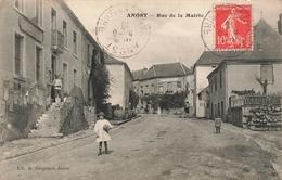 71 Anost Rue De La Mairie Cpa Carte Animée Cachet Anost - Francia