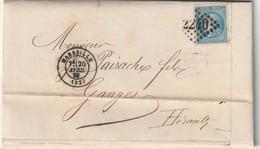 France Bordeaux N° 46B Sur Lettre De Marseille 20 Avril 1871 Belle Frappe - 1849-1876: Klassik