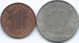 Romania - 1996 - 1 Lei - KM115 & 1993 - 10 Lei - KM116 - Romania