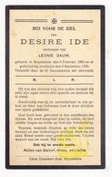 DP Désiré Ide ° Ruiselede 1863 † 1930 X Leonie Dauw - Images Religieuses
