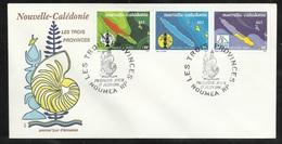 FDC Lettre Premier Jour Nouméa Le 17/06/1991 Les N° 611 à 613 Bande 613 A  Les 3 Provinces Cartes Et Emblèmes     TB - Cartas
