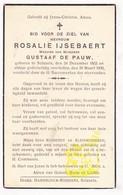 DP Rosalie IJsebaert Ysebaert ° Zelzate 1852 † 1936 X Gustaaf De Pauw - Images Religieuses