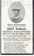 Josef LECHNER - Gefr. Im 2. Bayr. Inf. Regt. 4. Komp. +1918 - Begraven BILLY-BERCLAU Bl.7 - Gr.154 - 1914-18