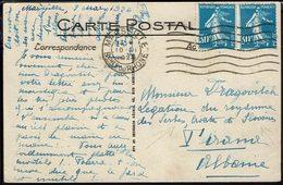 FR - Affr. Paire Semeuse 192 Sur CPA De Marseille Pour Légation Du Royaume Des Serbes, Croates ,et Slovènes à Tirana - - Lettres & Documents