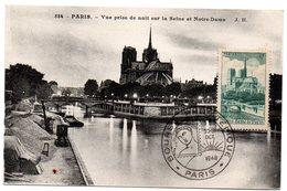 PARIS 1948 = CARTE MAXIMUM  + N° 776 CATHEDRALE NOTRE-DAME + ROUSSEAU + BOURSE PHILATELIQUE / CPA 584 - Maximum Cards