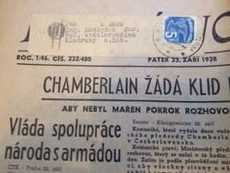 NEWS PAPER CZECHOSLOVAKIA-CHAMBERLAIN ZADA,PRE-WORLD WAR II,PRE-NAZI BLITZKRIEG,1938 PERIOD,USED - Slav Languages