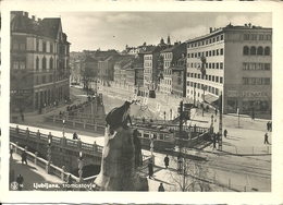 Ljubljana, Lubiana (Slovenia, Ex Jugoslavia) Tromostovje, Ponte Sul Fiume Ljubljanica E Tram, Bridge And Tramway - Slovénie
