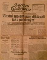 NEWS PAPER CZECHOSLOVAKIA-CHAMBERLAIN/HITLER-PRE-WORLD WAR II,PRE-NAZI BLITZKRIEG,1938 PERIOD,USED - Books, Magazines, Comics