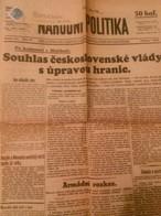 NEWS PAPER CZECHOSLOVAKIA-MUSOLLINI-PRE-WORLD WAR II,PRE-NAZI BLITZKRIEG,1938 PERIOD,USED - Books, Magazines, Comics