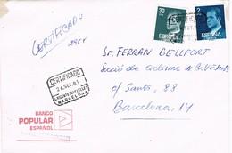 32519. Carta Certificada SAN VICENT De CASTELLET (Barcelona) 1981. Banco Popular - 1931-Hoy: 2ª República - ... Juan Carlos I