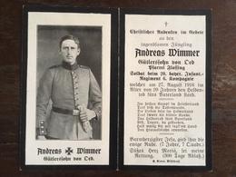Sterbebild Wk1 Ww1 Bidprentje Avis Décès Deathcard IR20 TROYON Block 10 Grab 70 Aus Oed - 1914-18