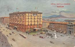 "M08008 "" NAPLES-HOTEL ISOTTA & GENEVE ""ANIMATA-TRAMWAY-CARROZZE,AUTO CARTOLINA ILLUSTRATA POSTALE ORIGINALE SPEDITA 1914 - Napoli (Naples)"