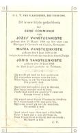 Devotie - Devotion - Communie Communion - Jozef + Maria + Joris Vansteenkiste - Torhout 1919 - Communion
