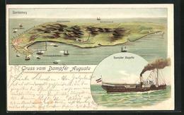 Lithographie Norderney, Ortsansicht Mit Nordstrand, Wilhelmshöhe, Leuchtthurm, Dampfer Augusta - Norderney