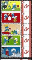 BELGIQUE - BELGIE Mijn Zegel DUOSTAMP  -  Strook Van 5 Postzegels  Smurfen - Belgique