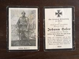Sterbebild Wk1 Ww1 Bidprentje Avis Décès Deathcard IR2 September 1916 RUSSLAND HRGURIAKINI Aus Maierholz - 1914-18