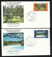 DC 2 Lettres Premier Jour Nouméa Le 26/03/1986 Les N° 514 Et  515 Paysages Baie De Kanumera Et Village De L'intérieur TB - Briefe U. Dokumente
