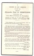 Devotie - Devotion - Doodsprentje Image Mortuaire - Adel Noblesse - Graaf Alexandre Paul De Hemptinne - Gent 1866 - 1955 - Décès