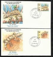 """DC 2 Lettres Premier Jour Nouméa Le 16/04/1986 N° 516  Et 517  Geckos """"Rhacadactylus Leacchianus & Bavayia Sauvagii""""  TB - Schlangen"""