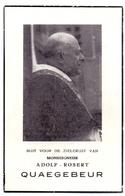 Devotie Doodsprentje - Mgr. Pastoor Deken Adolf Quaegebeur - Nieuwpoort 1887 - De Panne - Roeselare - Brugge 1957 - Décès