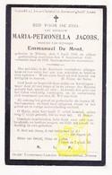 DP Maria P. Jacobs ° Ninove 1836 † 1909 X Emmanuel De Mont - Images Religieuses
