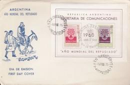 ARGENTINA 1960 - BUSTA FDC Anno Mondiale Del Rifugiato.Foglietto Non Comune. - FDC