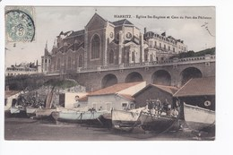 Biarritz - Eglise St-Eugénie Et Coin Du Port Des Pêcheurs. COLORISÉE. - Biarritz