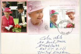 AUSTRALIA QUEEN ELISABETH 2014 BIRTHDAY.  MS On Letter Australia Sent To UK (High Face Value Stamps) - Familles Royales